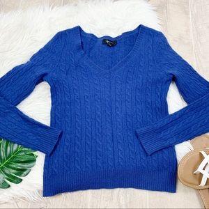 Aqua Cashmere Long Sleeve Blue Sweater D1218